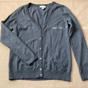 Loft Pima Cotton Blend V Neck Button Cardi Gray
